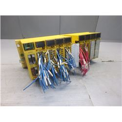 FANUC A03B-0807-C001 ABU10A 10 SLOT RACK W/ 8 MODULES *SEE PICS FOR MODEL NUMBERS*