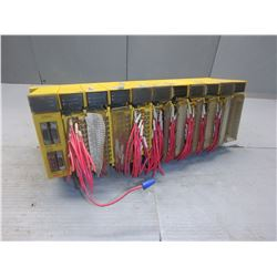 FANUC A03B-0807-C001 ABU10A 10 SLOT RACK W/ 10 MODULES *SEE PICS FOR MODEL NUMBERS*