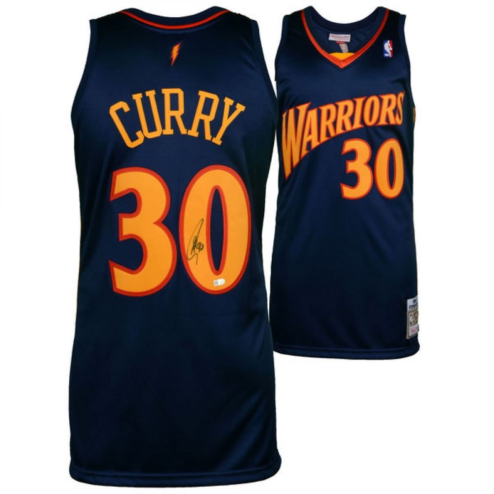 online store 2f699 189f5 Stephen Curry Signed Throwback Warriors Authentic Mitchell ...