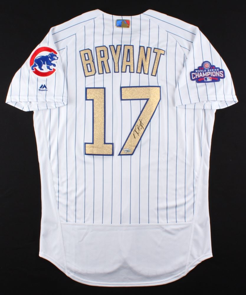 4f1466fc1 Image 1   Kris Bryant Signed Cubs Majestic Authentic Gold Jersey (MLB  Fanatics Hologram)