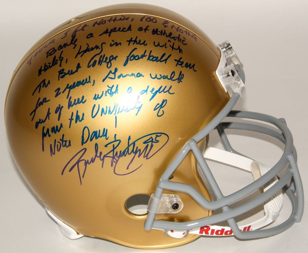 3b9c1aedad4 Image 1   Rudy Ruettiger Signed Full-Size Notre Dame Fighting Irish Helmet  with