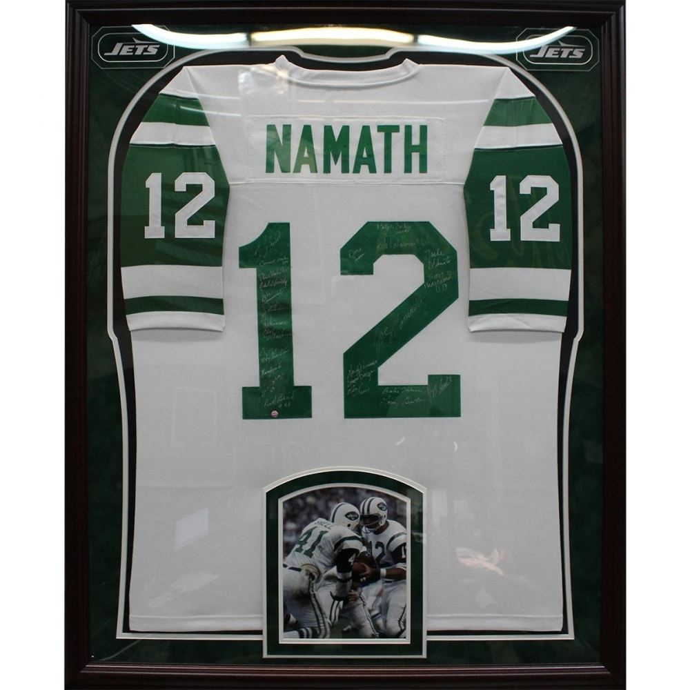 1969 New York Jets Custom Framed Joe Namath Jersey Team  N0Uq3OAw