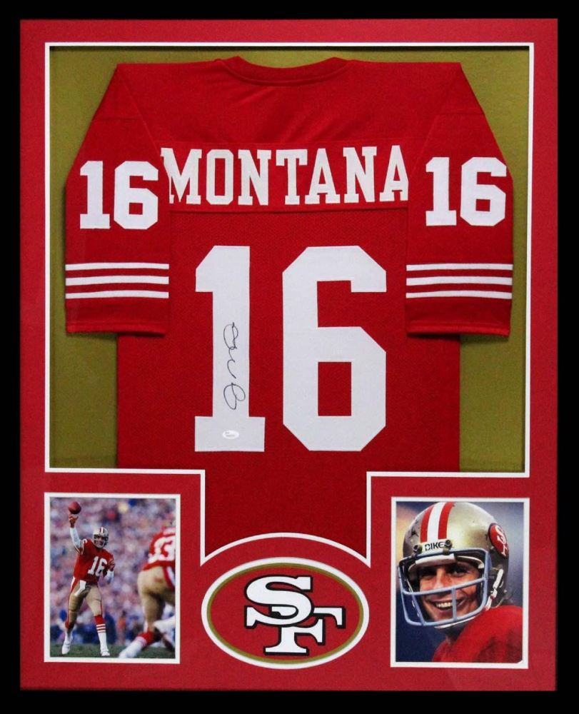 the best attitude f42ca cdce8 Joe Montana Signed 49ers 34x42 Custom Framed Jersey ...