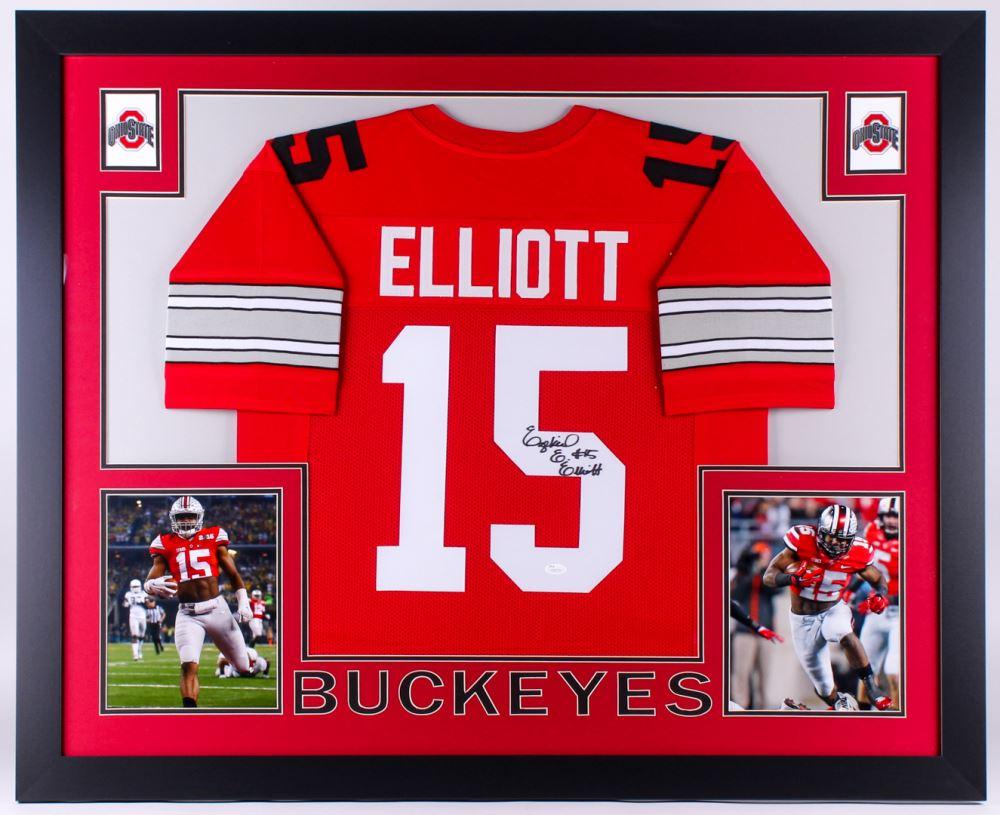 ac1c28da327 Image 1 : Ezekiel Elliott Signed Ohio State Buckeyes 35x43 Custom Framed  Jersey (JSA COA