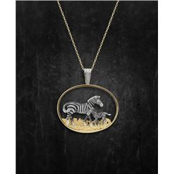 Handcrafted Zebra and Baby Pendant