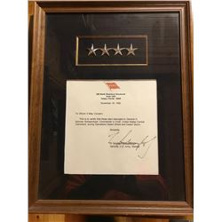 General Norman Schwarzkopf Four-Stars worn during Desert Storm along with a letter of Authenticity