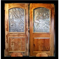 African Metal Art Framed in Exotic Myrtlewood Door