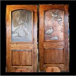 Artistic Metal Art Framed in Knotty Alder Door