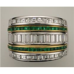 Lady's 18K White & Yellow Gold Emerald and Diamond Ring