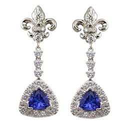 Tanzanite & Diamond Fluer de lei Snowflake Earrings