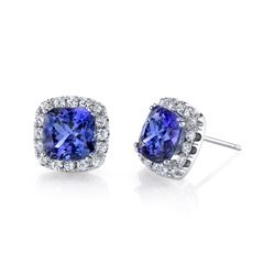 BARANOF JEWELERS Ladies Tanzanite & Diamond Earrings Set in 14K Gold