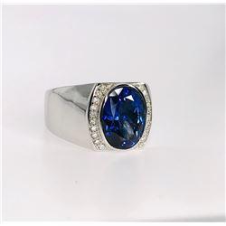 BARANOF JEWELERS Mens Oval Tanzanite & Diamond Ring