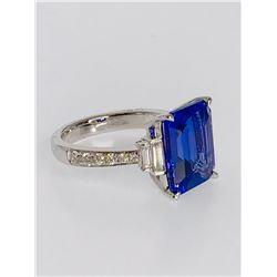 BARANOF JEWELERS Emerald Cut Tanzanite & Diamond Ring