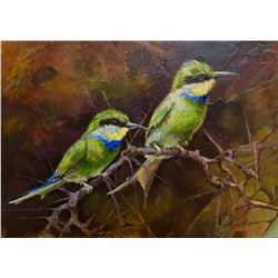 "VICKIE MCMILLAN WILDLIFE CONSERVATION ARTIST ""Enjoying Life"" Original Acrylic on Board"