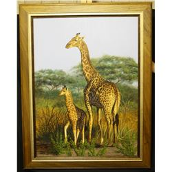 ORIGINAL WILDLIFE ART by ILSE de VILLIERS Mother & Baby Original Acrylic Painting