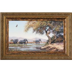"""CALL OF AFRICA'S NATIVE VISIONS GALLERIES & DAVID LANGMEAD Framed """"River of Eden"""" Print"""
