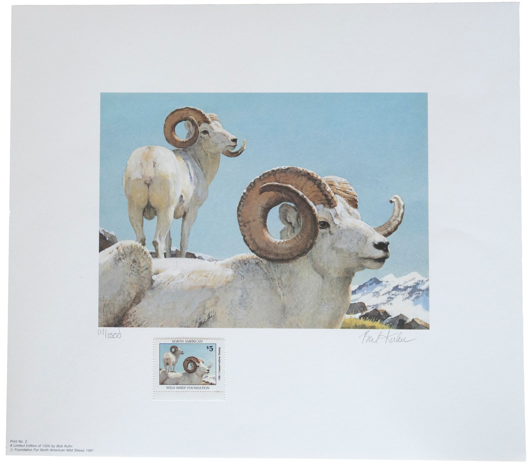 CONSERVATION PRINTS & STAMP COLLECTION - FOUR NORTH AMERICAN WILD SHEEP -  ALL NUMBERED 111