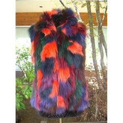 MULTI COLORED FOX FUR VEST - MEDIUM