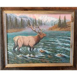 """BULL RIVER CROSSING"" 22X28 ORIGINAL OIL PAINTING"