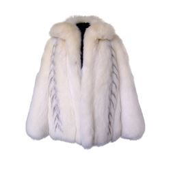WHITE FOX JACKET WITH RACCOON INSERTS - MEDIUM