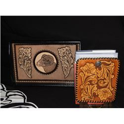 Wooden Serving Tray with Custom Hand Tooled Leather Big Horn Sheep Inlays and Leather Tooled Bookend