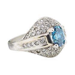 1.52 ctw Blue and White Diamond Ring - 14KT White Gold