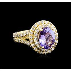 4.15 ctw Tanzanite and Diamond Ring - 14KT Yellow Gold