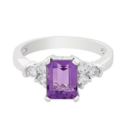 14KT White Gold 1.62 ctw Amethyst and Diamond Ring