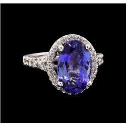 4.48 ctw Tanzanite and Diamond Ring - 14KT White Gold