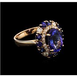 3.20 ctw Tanzanite, Blue Sapphire and Diamond Ring - 14KT Rose Gold