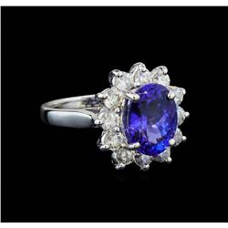 3.74 ctw Tanzanite and Diamond Ring - 14KT White Gold