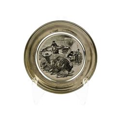 Vintage Sterling Silver Thanksgiving Plate by The Kirk Collection Circa 1972