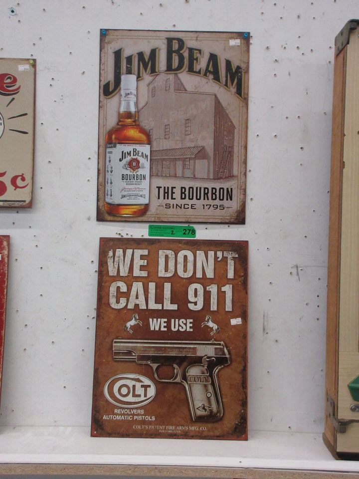 New Jim Bean & Colt Tin Signs
