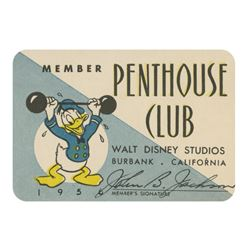 "Walt Disney Studios ""Penthouse Club"" Membership Card."