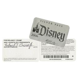Rolly Crump Signed Disney Silver Pass.