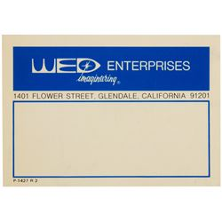 WED Enterprises Imagineering Label.
