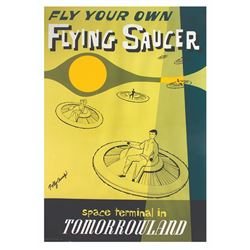 Signed  Flying Saucers  Attraction Poster Print.