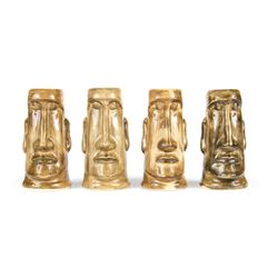 Set of 4 Tiki Salt & Pepper Shakers.