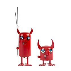 "Pair of ""Devil"" Hand-Painted Push-Down Toys."