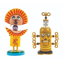 """Lion"" & ""Key Creature"" Hand-Painted Push-Down Toys."
