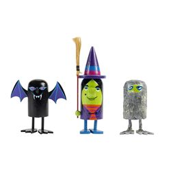 "Set of ""Monsters"" Hand-Painted Push-Down Toys."