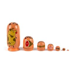 """Pig"" Hand-Painted Nesting Doll."
