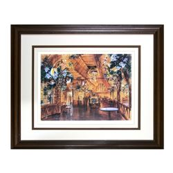 "John Hench ""Tiki Tea House"" Tiki Room Lithograph."