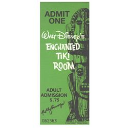 "Signed ""Enchanted Tiki Room"" Wooden Ticket Plaque."