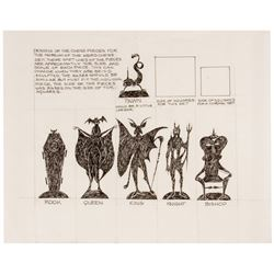 "Rolly Crump ""Museum of the Weird"" Chess Set Concept."