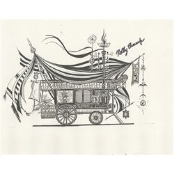 "Signed ""Museum of the Weird"" Gypsy Wagon Print."
