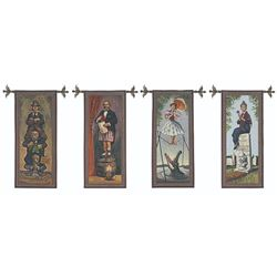 "Set of 4 ""Haunted Mansion"" Stretch Portrait Tapestries."