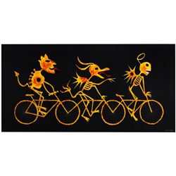 "Rolly Crump ""Skeletons on Bikes"" Original Painting."