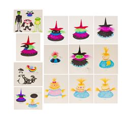 Set of 14 Original Rolly Crump Toy Illustrations.