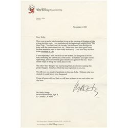 "Marty Sklar Signed ""Wonders of Life"" Letter."